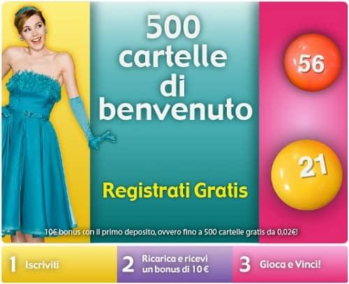Tombola bingo online: bonus 10 euro